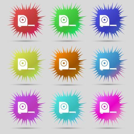 cintas metricas: la construcci�n de la ruleta icono de la muestra. Nueve botones originales de agujas. ilustraci�n. versi�n de la trama