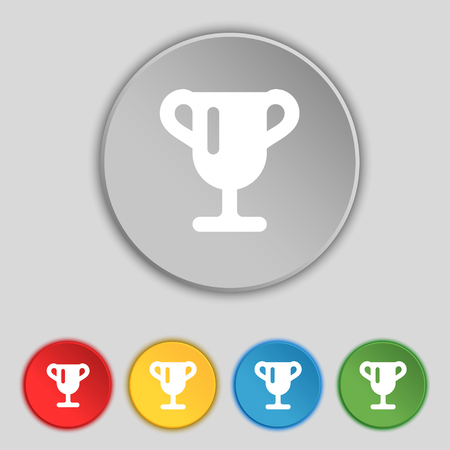 awarding: Winner cup, Awarding of winners, Trophy icon sign. Symbol on five flat buttons. illustration