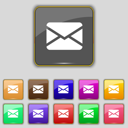 eleven: Mail, Envelope, Message icon sign. Set with eleven colored buttons for your site. illustration