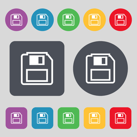 floppy drive: floppy disk icon sign. A set of 12 colored buttons. Flat design. illustration