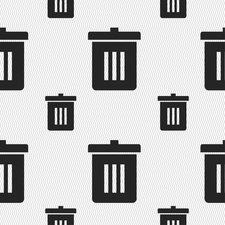 reduce: Recycle bin, Reuse or reduce icon sign. Seamless pattern with geometric texture. illustration Stock Photo