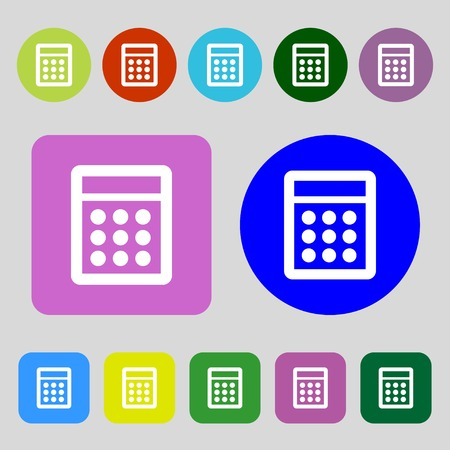 bookkeeping: Calculator sign icon. Bookkeeping symbol.12 colored buttons. Flat design. illustration