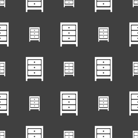 joinery: Nightstand icon sign. Seamless pattern on a gray background. illustration