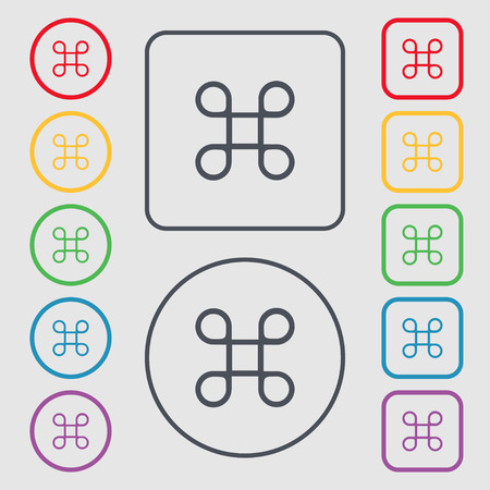 maestro: Keyboard Maestro icon. Symbols on the Round and square buttons with frame. illustration Stock Photo