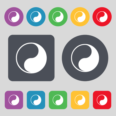 daoism: Yin Yang icon sign. A set of 12 colored buttons. Flat design. illustration