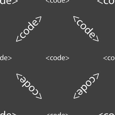 programming code: Code sign icon. Programming language symbol. Seamless pattern on a gray background. illustration