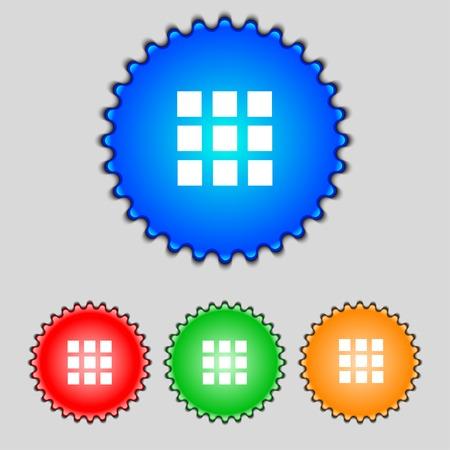 the view option: List sign icon. Content view option symbol. Set colour buttons. illustration