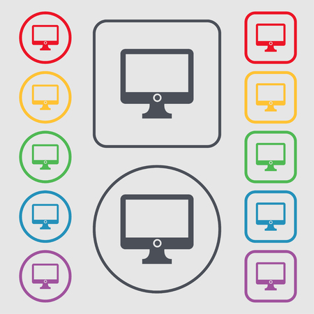 widescreen: Computer widescreen monitor sign icon. Symbols on the Round and square buttons with frame. illustration