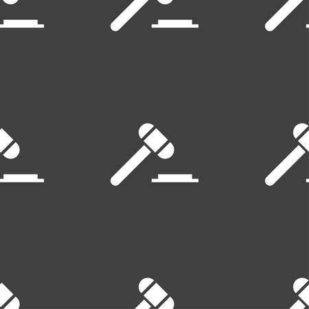 arbitrate: judge hammer icon. Seamless pattern on a gray background. illustration