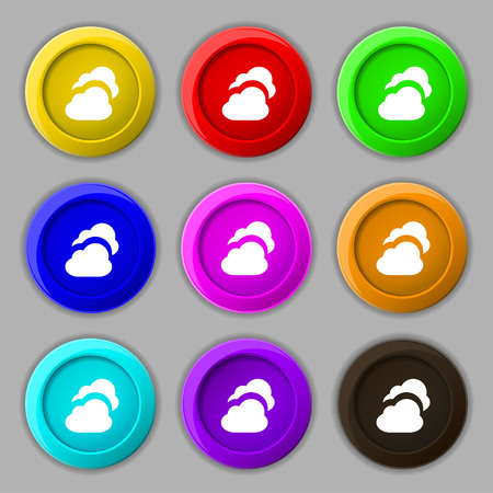on cloud nine: Cloud icon sign. symbol on nine round colourful buttons. illustration Stock Photo