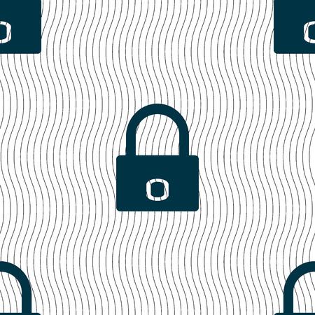 locker: Lock sign icon. Locker symbol. Seamless pattern with geometric texture. illustration Stock Photo