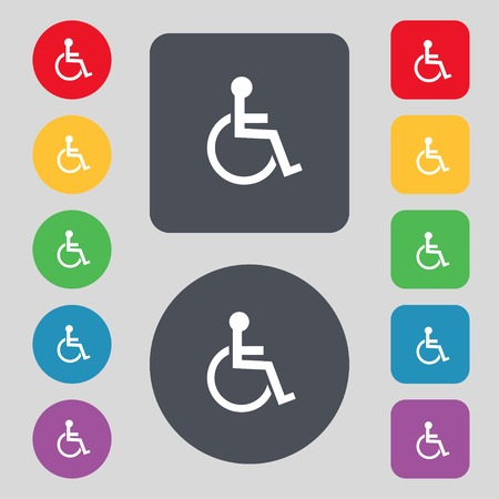 Disabled sign icon. Human on wheelchair symbol. Handicapped invalid sign. Set colourful buttons illustration Banco de Imagens