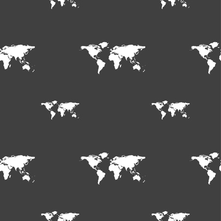 geography background: Globe sign icon. World map geography symbol. Seamless pattern on a gray background. illustration Stock Photo