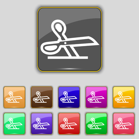 disclosed: scissors icon sign. Set with eleven colored buttons for your site. illustration Stock Photo