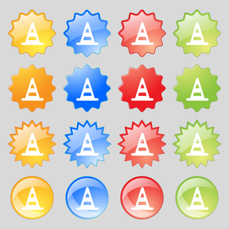 traffic pylon: road cone icon sign. Set from sixteen multi-colored glass buttons with place for text. illustration
