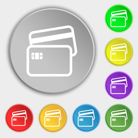 credit card icon: Credit card icon sign. Symbol on eight flat buttons. illustration