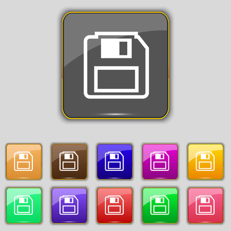 old pc: floppy disk icon sign. Set with eleven colored buttons for your site. illustration