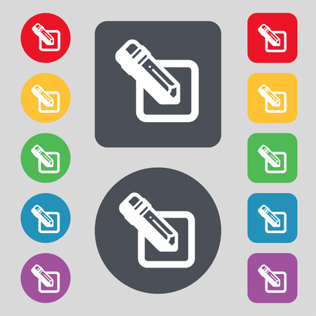 secretarial: pencil icon sign. A set of 12 colored buttons. Flat design. illustration