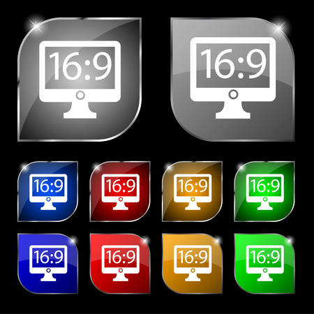 aspect: Aspect ratio 16:9 widescreen tv icon sign. Set of ten colorful buttons with glare. illustration Stock Photo