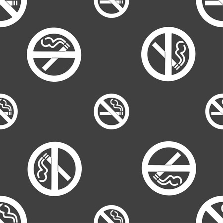 artistic addiction: no smoking icon sign. Seamless pattern on a gray background. illustration Stock Photo