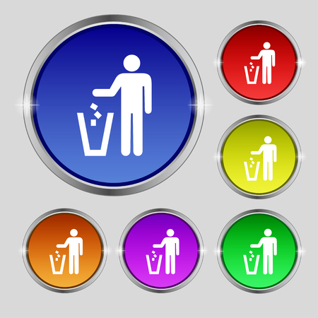 throw away: throw away the trash icon sign. Round symbol on bright colourful buttons. illustration Stock Photo