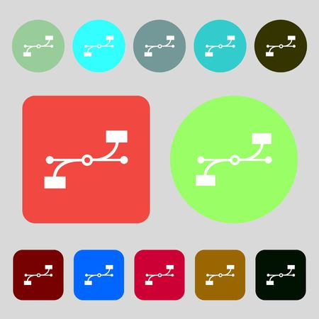 bezier: Bezier Curve icon sign.12 colored buttons. Flat design. illustration