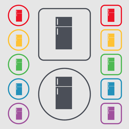 cold storage: Refrigerator icon sign. symbol on the Round and square buttons with frame. illustration Stock Photo