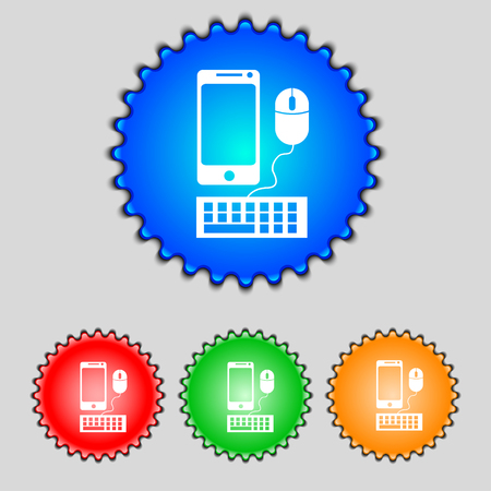 widescreen: smartphone widescreen monitor, keyboard, mouse sign icon. Set colourful buttons illustration Stock Photo