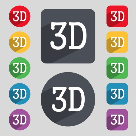 new technology: 3D sign icon. 3D New technology symbol. Set of colour buttons. illustration Stock Photo