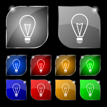icon buttons: Light lamp sign icon. Idea symbol. Lightis on. Set of colored buttons. illustration