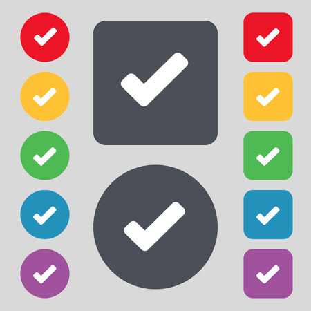 tik: Check mark, tik icon sign. A set of 12 colored buttons. Flat design. illustration