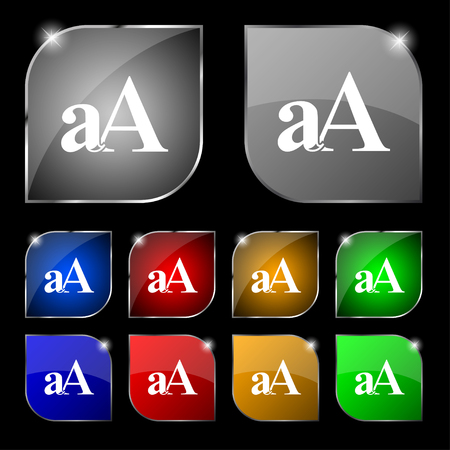 aa: Enlarge font, aA icon sign. Set of ten colorful buttons with glare. illustration