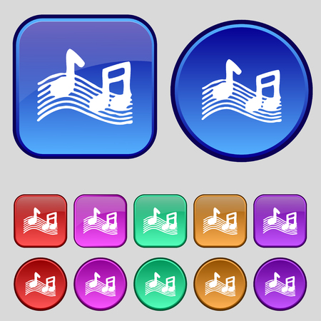 ringtone: musical note, music, ringtone icon sign. A set of twelve vintage buttons for your design. illustration Stock Photo