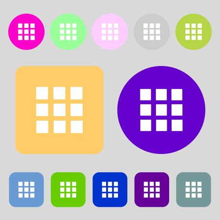the view option: List sign icon. Content view option symbol.12 colored buttons. Flat design. illustration