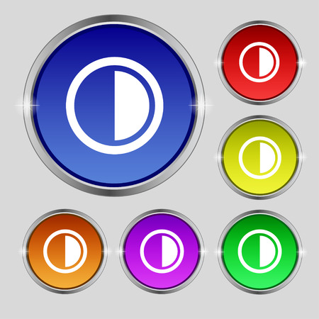 contrast: contrast icon sign. Round symbol on bright colourful buttons. illustration