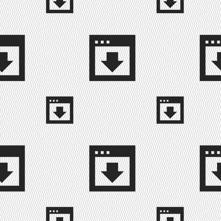 down load: Arrow down, Download, Load, Backup icon sign. Seamless pattern with geometric texture. illustration