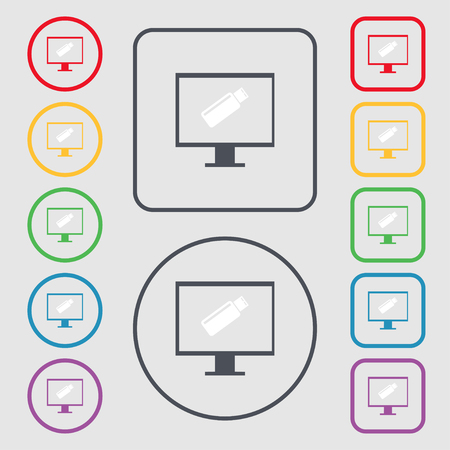 game drive: usb flash drive and monitor sign icon. Video game symbol. Symbols on the Round and square buttons with frame. illustration Stock Photo