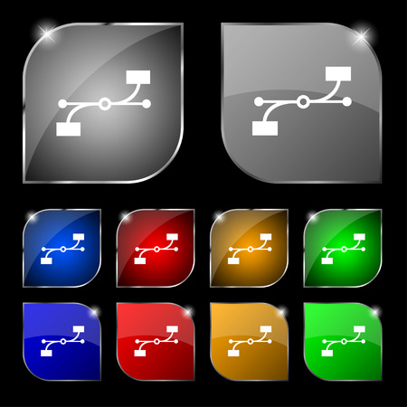 bezier: Bezier Curve icon sign. Set of ten colorful buttons with glare. illustration Stock Photo