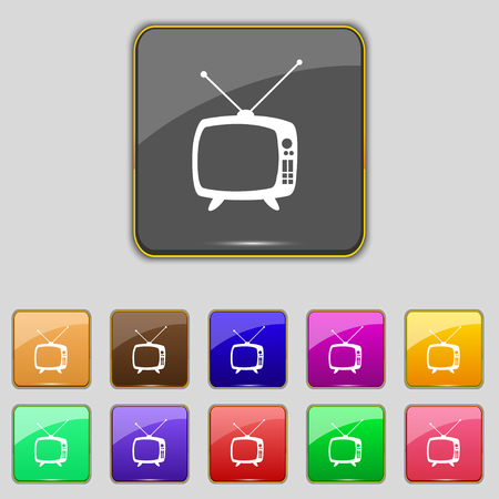 television set: Retro TV mode sign icon. Television set symbol. Set colourful buttons. Hand cursor pointer illustration Stock Photo