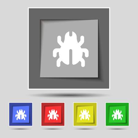 acarus: Software Bug, Virus, Disinfection, beetle icon sign on the original five colored buttons. illustration