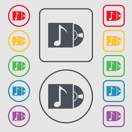 cd player: cd player icon sign. Symbols on the Round and square buttons with frame. illustration