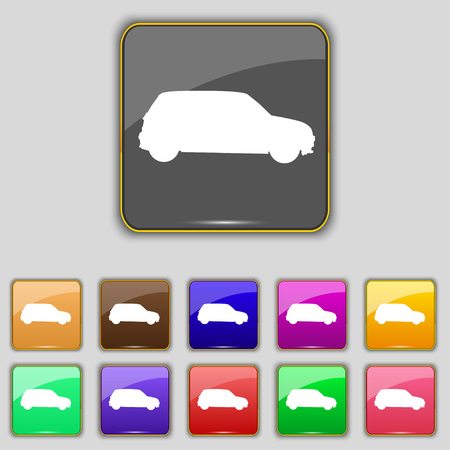jeep: Jeep icon sign. Set with eleven colored buttons for your site. illustration