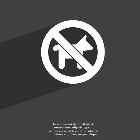 trash danger: dog walking is prohibited icon symbol Flat modern web design with long shadow and space for your text. illustration