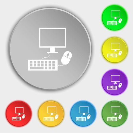 keyboard and mouse: Computer widescreen monitor, keyboard, mouse sign icon. Symbols on eight flat buttons. illustration Stock Photo