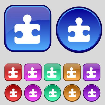 puzzle corners: Puzzle piece icon sign. A set of twelve vintage buttons for your design. illustration