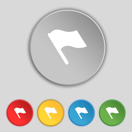 abort: Finish, start flag icon sign. Symbol on five flat buttons. illustration