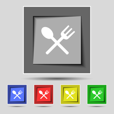 crosswise: Fork and spoon crosswise, Cutlery, Eat icon sign on the original five colored buttons. illustration Stock Photo