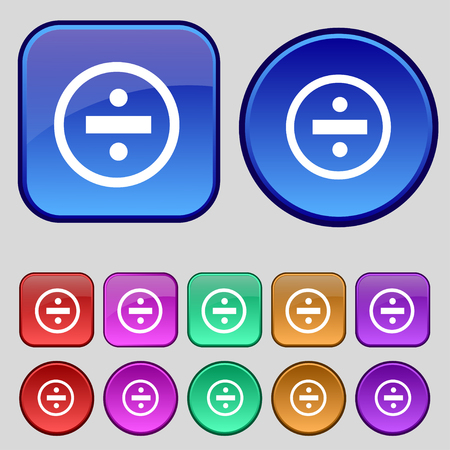 dividing: dividing icon sign. A set of twelve vintage buttons for your design. illustration