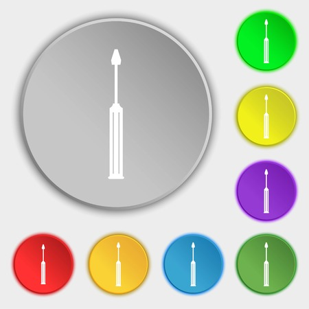 sig: Screwdriver tool sign icon. Fix it symbol. Repair sig. Symbols on eight flat buttons. illustration