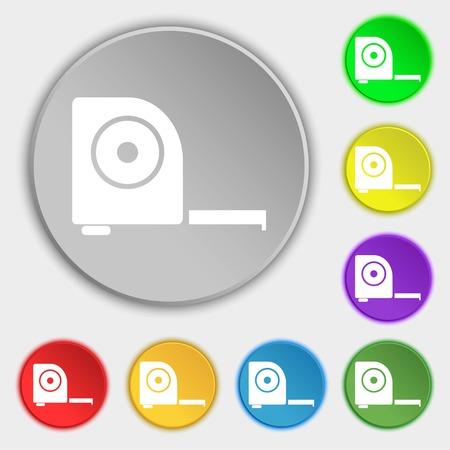 cintas metricas: la construcci�n de la ruleta icono de la muestra. S�mbolos en ocho botones planos. ilustraci�n